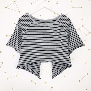 Free People • Gray Striped Open Back Crop Top S